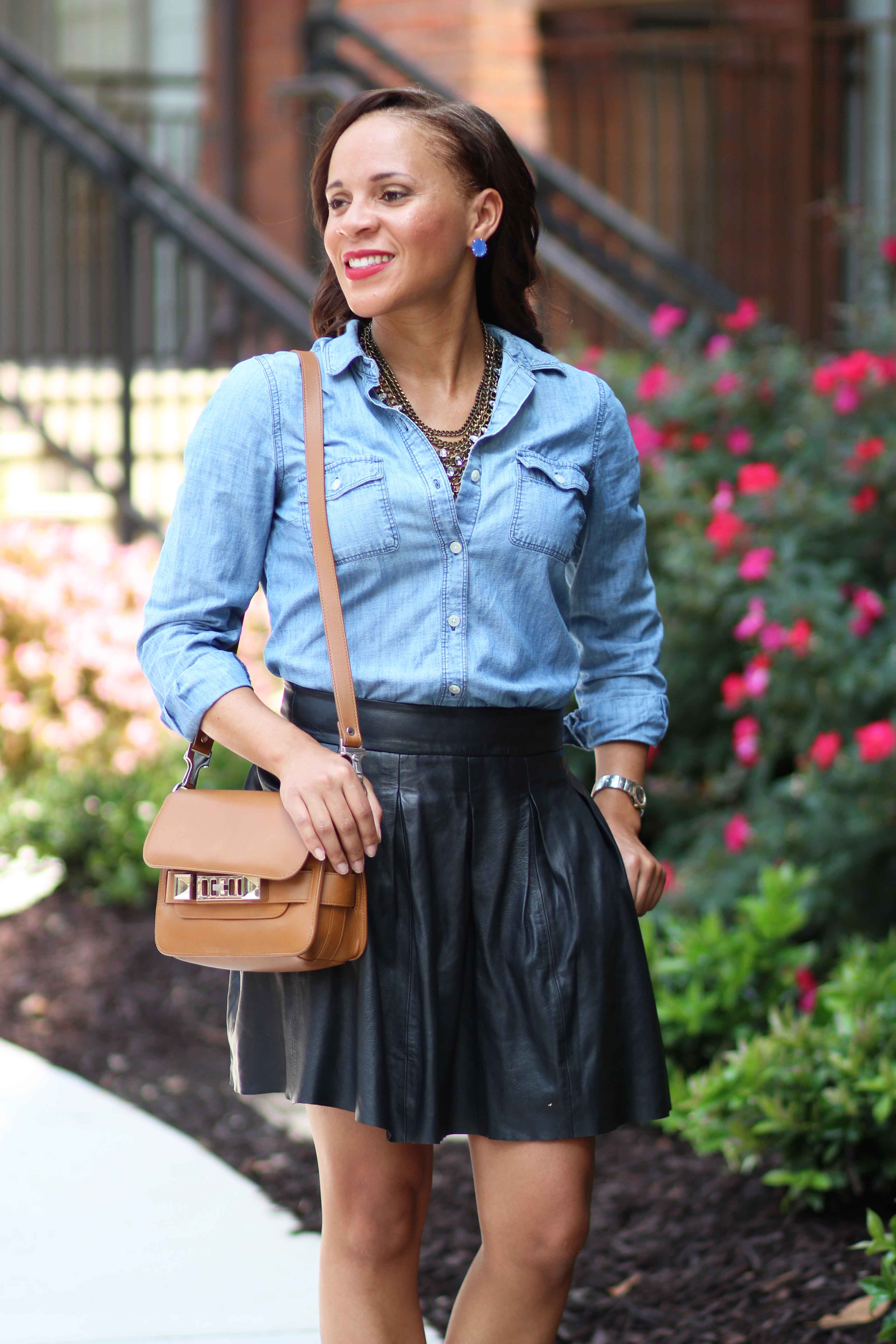 denim shirt and leather skater skirt to the nines