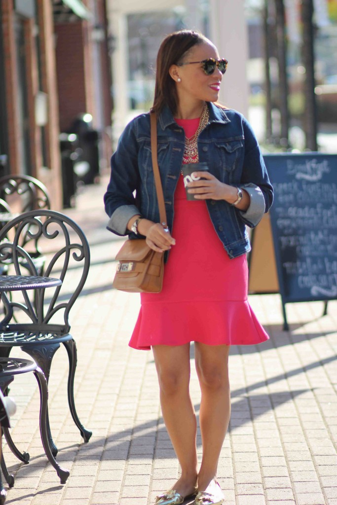 pink-fit-and-flare-dress