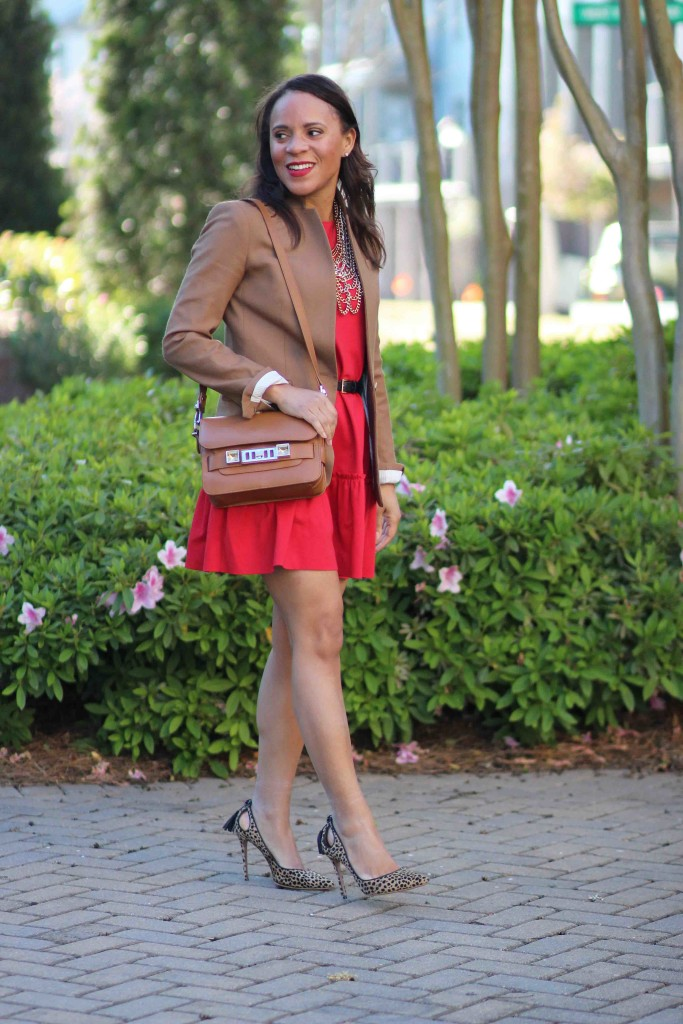 how-to-wear-red-dress-to-work
