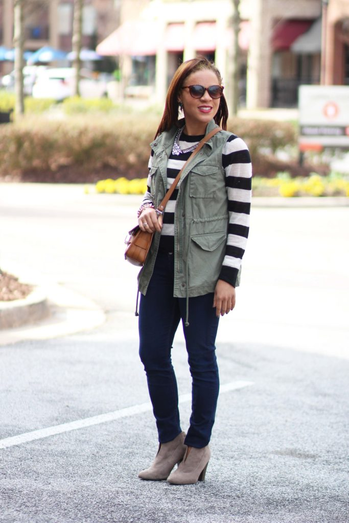 army green vest stripe sweater rag and bone jeans booties