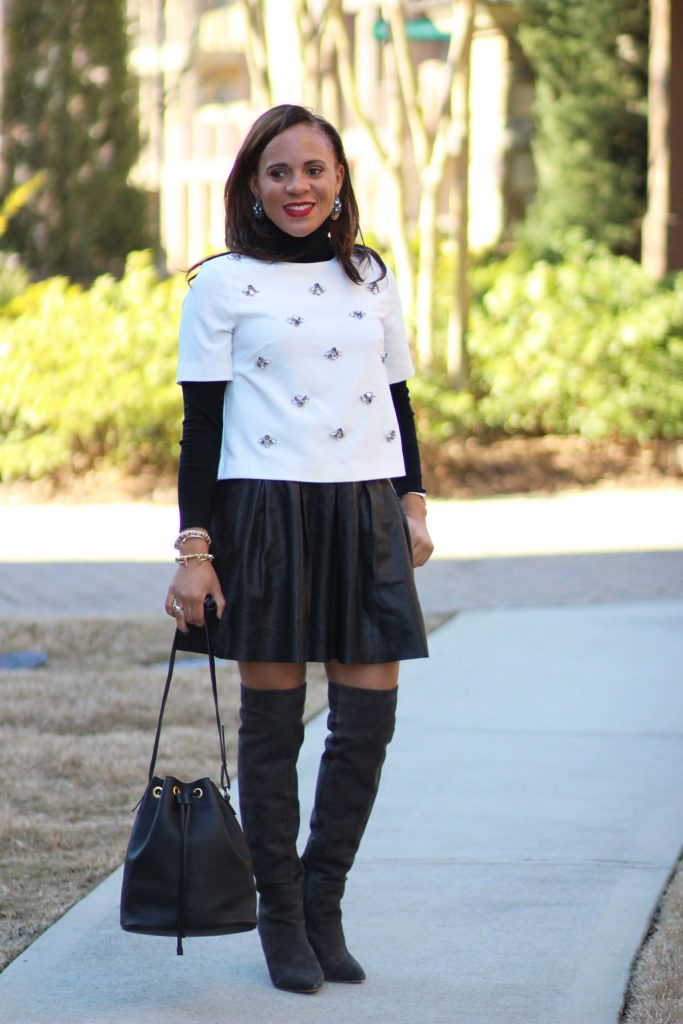 fall date outfit black pleated leather skirt