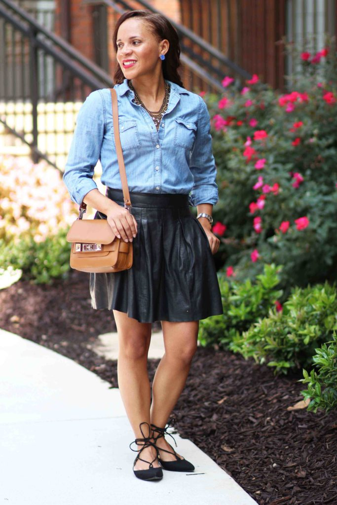banana republic black leather skirt old navy denim top topshop lace up flats outfit
