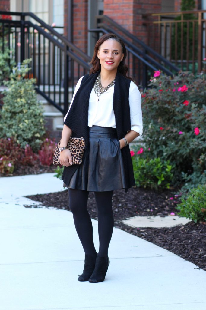 ann taylor cascade vest-white utility shirt pleated leather skirt outfit