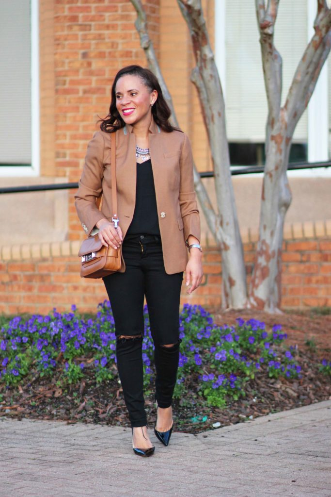 chic fall outfits j crew camel regent blazer black ripped skinny jeans