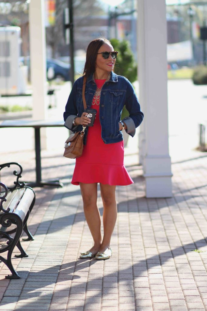 ann taylor loft pink fit and flare dress, bauble bar courtney bib, old navy denim jacket, spring outfit ideas