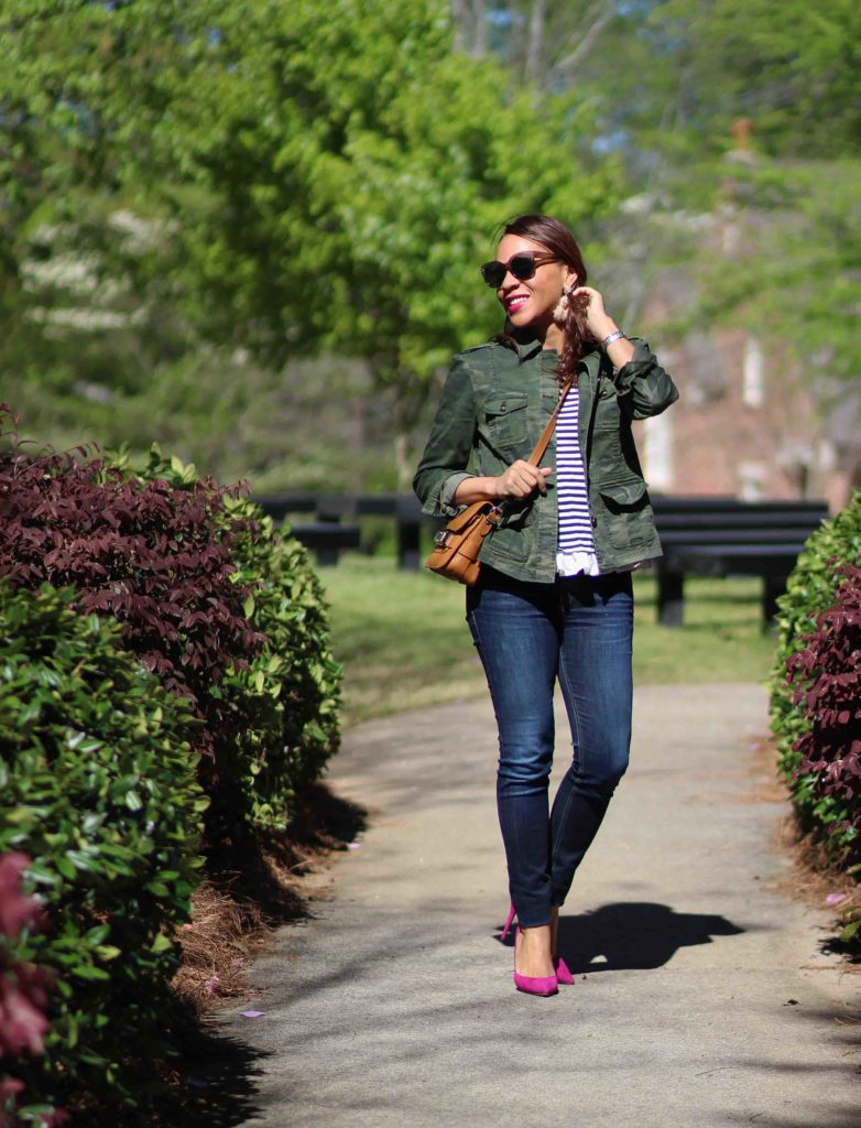 loft camo jacket, stripe t-shirt, pink suede heels, spring outfit ideas, spring casual outfit