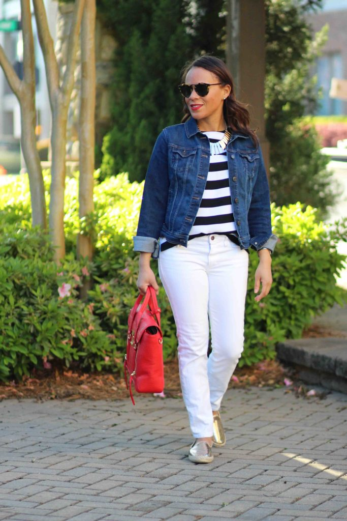 Banana Republic black and white stripe top, gold espadrilles, joe's white skinny jeans, old navy denim jacket, spring casual outfit