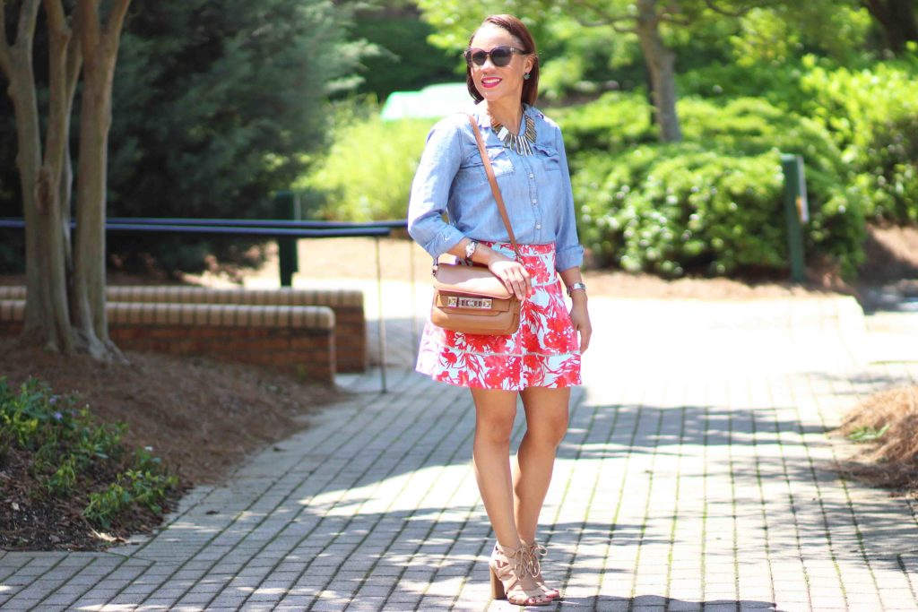 old navy denim shirt, sam edelman yardley sandals, spring business casual work outfit