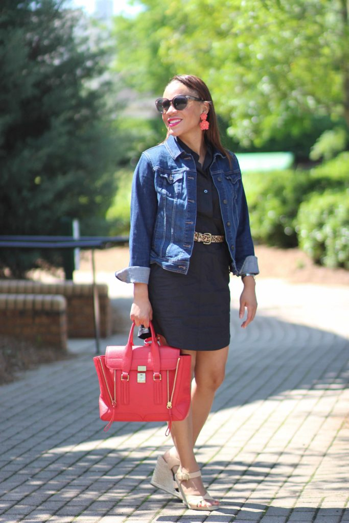 jcrew black shift dress, old navy denim jacket, leopard belt, spring casual outfit, spring date outfit