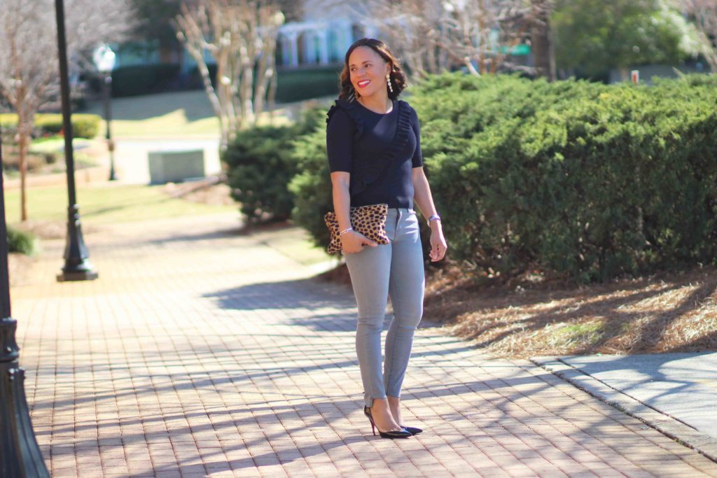 Frame Le High Grey Skinny Jeans, Ann Taylor, Ruffle Front Top, Nicole to the Nines, Christian Louboutin Iriza Pumps, Clare V Leopard Flat Clutch, Spring Date Outfit, Gray Step Hem Jeans, How to Wear Step Hem Jeans