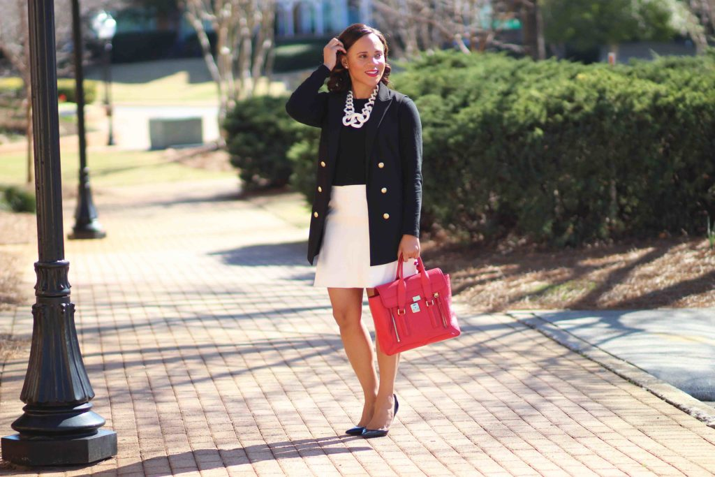 black express sleeveless jacket, white jcrew skirt, bauble bar statement necklace, christian louboutin iriza pumps, black and white business casual outfit
