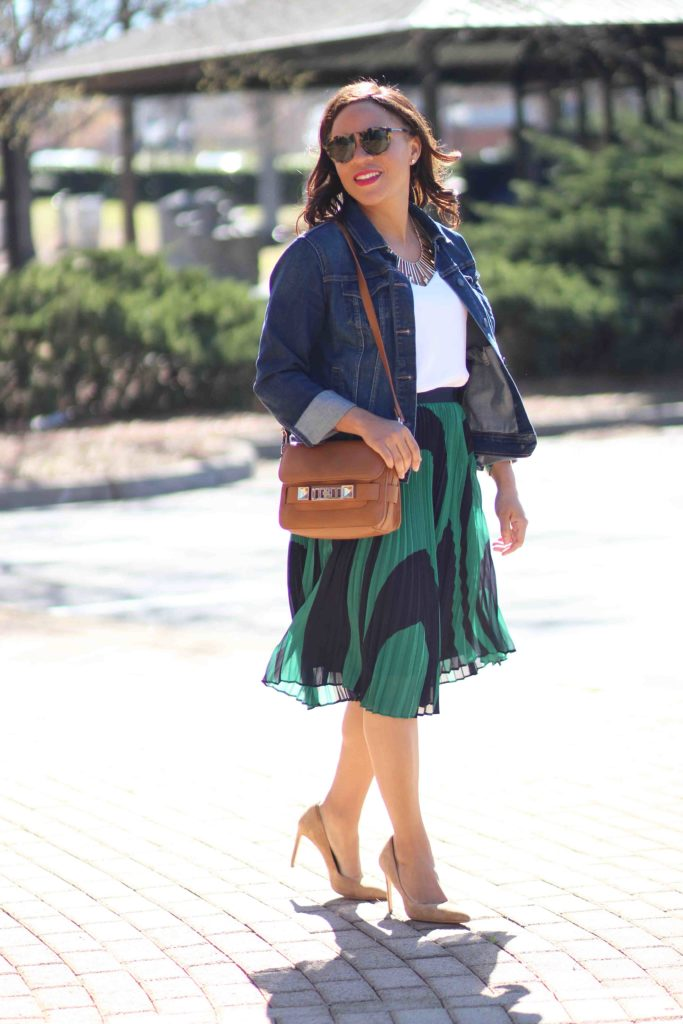 ann taylor wave pleated skirt, express barcelona cami, old navy jean jacket, zara suede heels, spring business casual outfit, how to wear a jean jacket to work