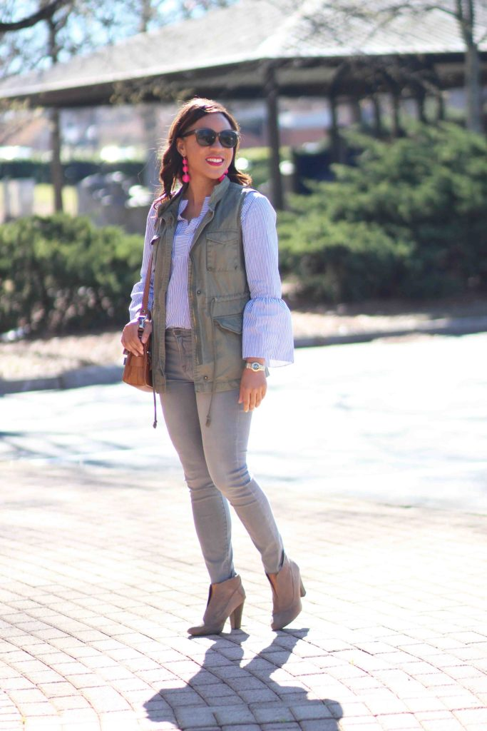 j crew striped bell sleeve top, frame le skinny step hem jeans, bauble bar crispin earrings, spring casual outfit, how to wear an army vest,