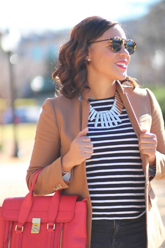 J crew regent camel blazer, camel blazer outfit, bauble bar statement necklace, stripe tee outfit, how to wear flare jeans to work, how to style a camel blazer, sam edelman hazel leopard pump