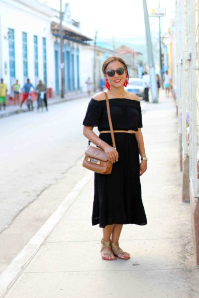 Black off the Shoulder Dress in Cuba