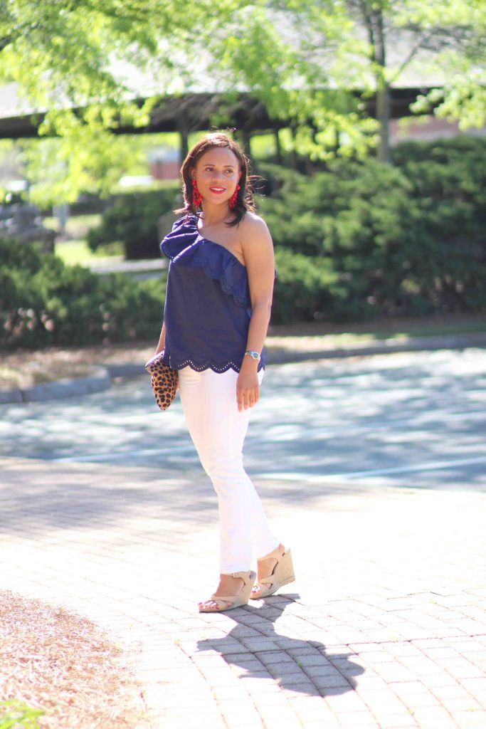 summer casual outfit, white skinny jeans outfit, aqua one shoulder eyelet ruffle top, jcrew statement earrings
