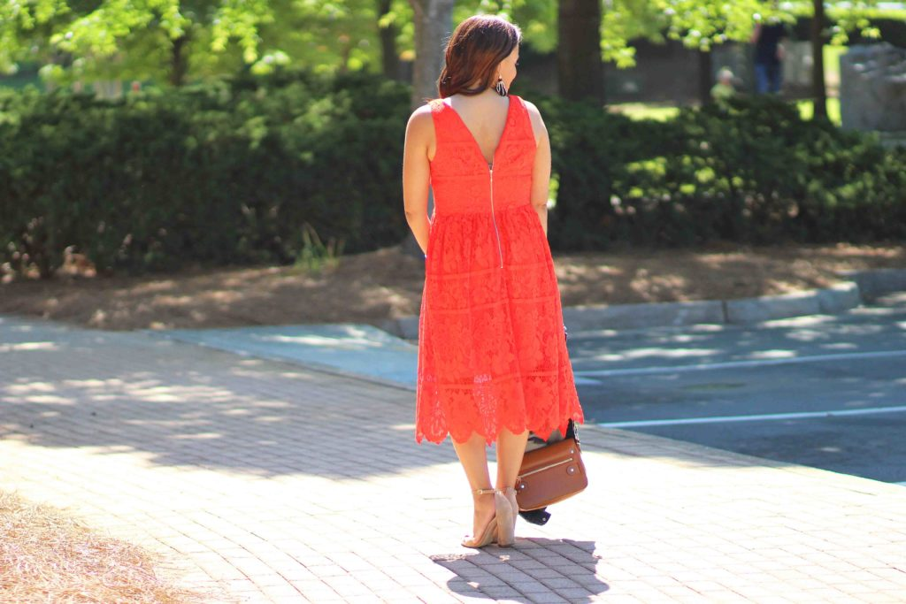target red lace dress, old navy jean jacket, sam edelman sandals, casual wedding guest outfit ideas, nicole to the nines
