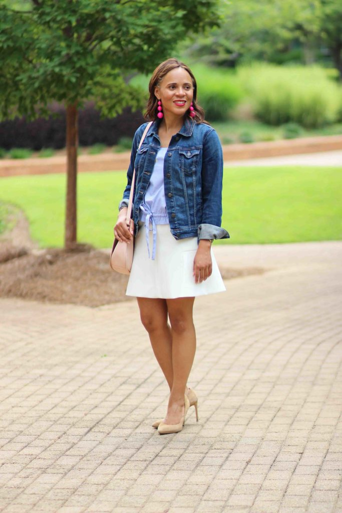 H&M blue and white drawstring top, white jcrew skirt, bauble bar crispin earrings, old navy pink saddle bag, business casual work outfit, old navy jean jacket