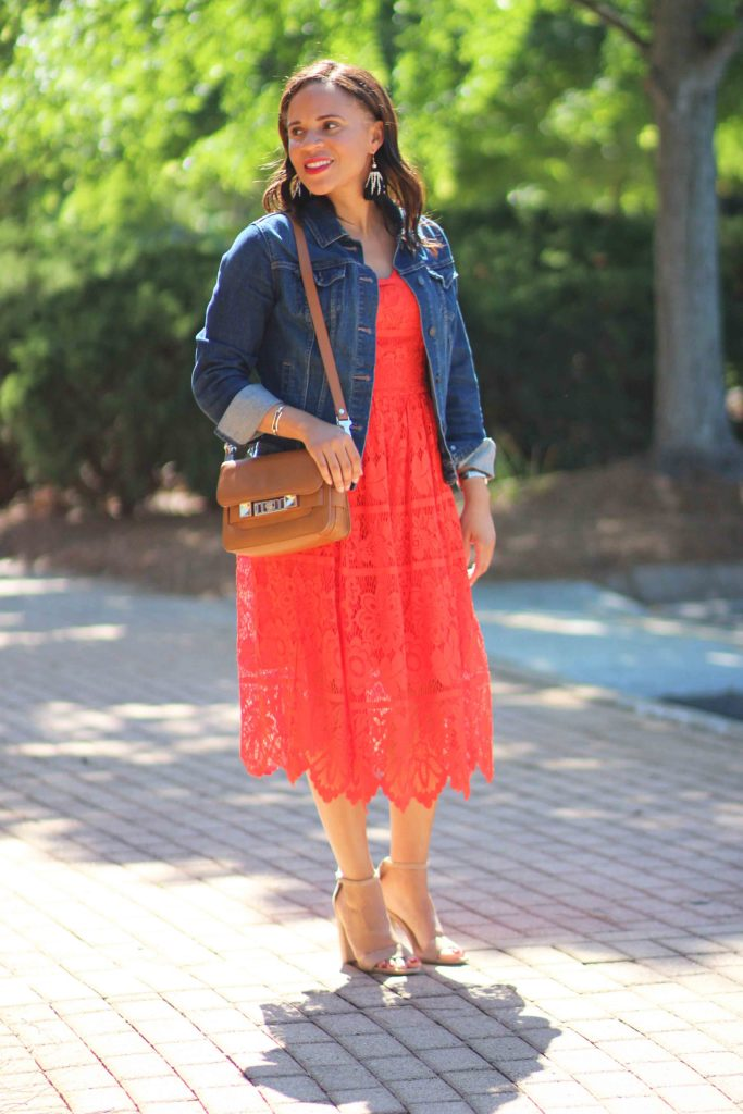 target red lace dress, old navy jean jacket, sam edelman sandals, casual wedding guest outfit ideas
