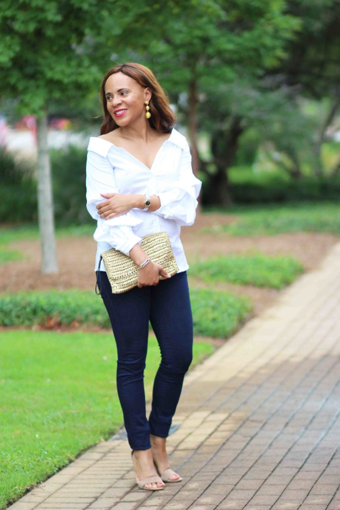 white off the shoulder top and jbrand jeans