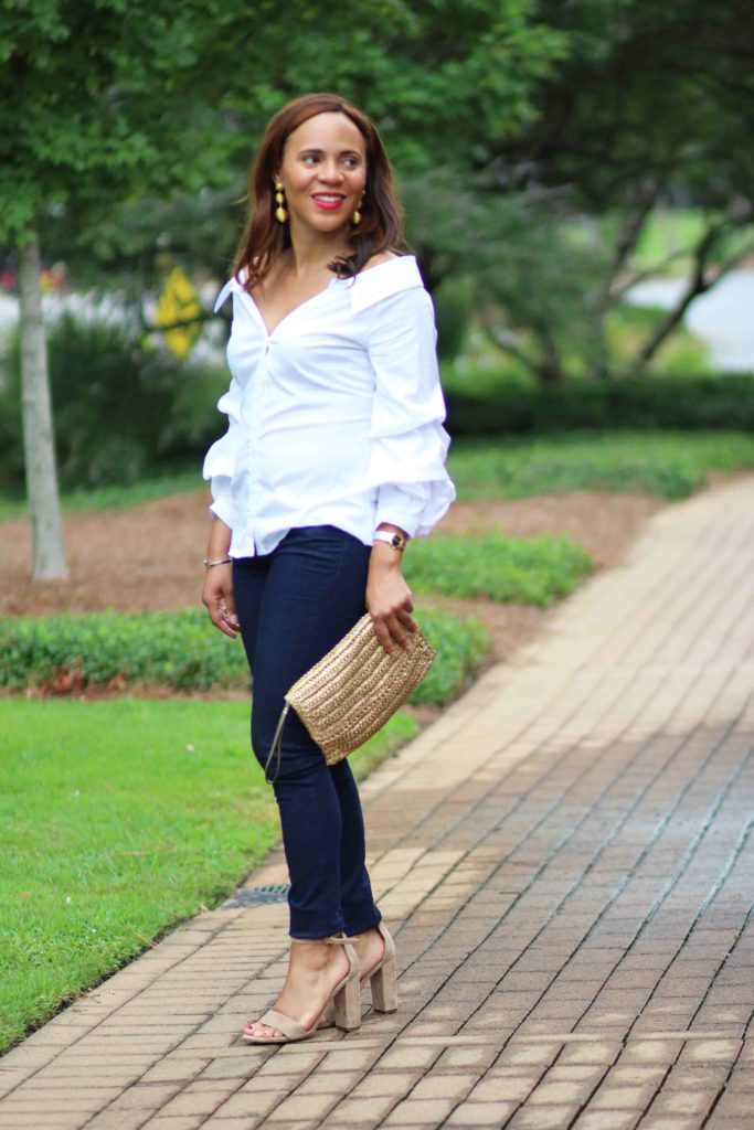 summer date outfit ideas, white off the shoulder top