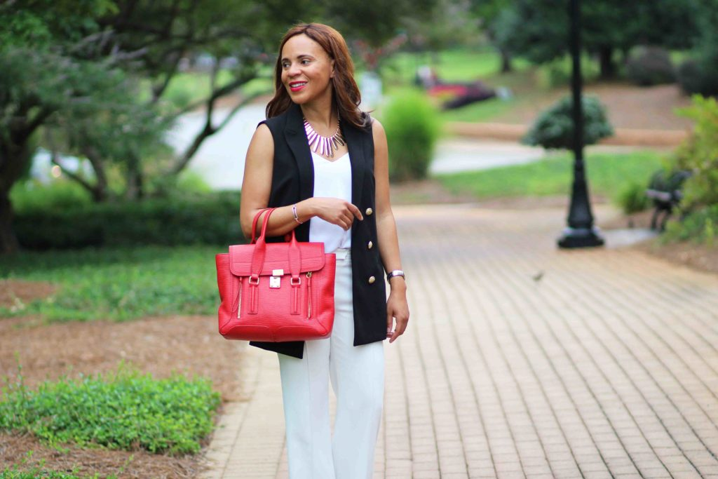 Express black vest, white wide leg pants outfit for work, sam edelman leopard heels, black and white work outfit