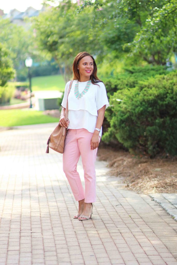 One Last Blush Pink Pants Outfit Nicole To The Nines