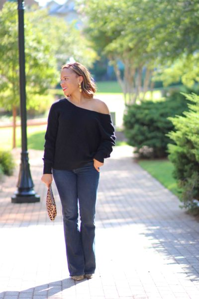 Loft Black Twist Back Sweater