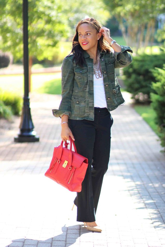 Loft camo jacket, theory black pants, bauble bar courtney bib, camo jacket outfit, business casual outfit