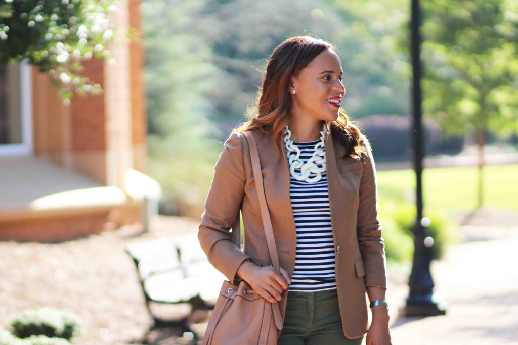 jcrew regent blazer, womens camel blazer business casual outfit, jcrew striped t-shirt