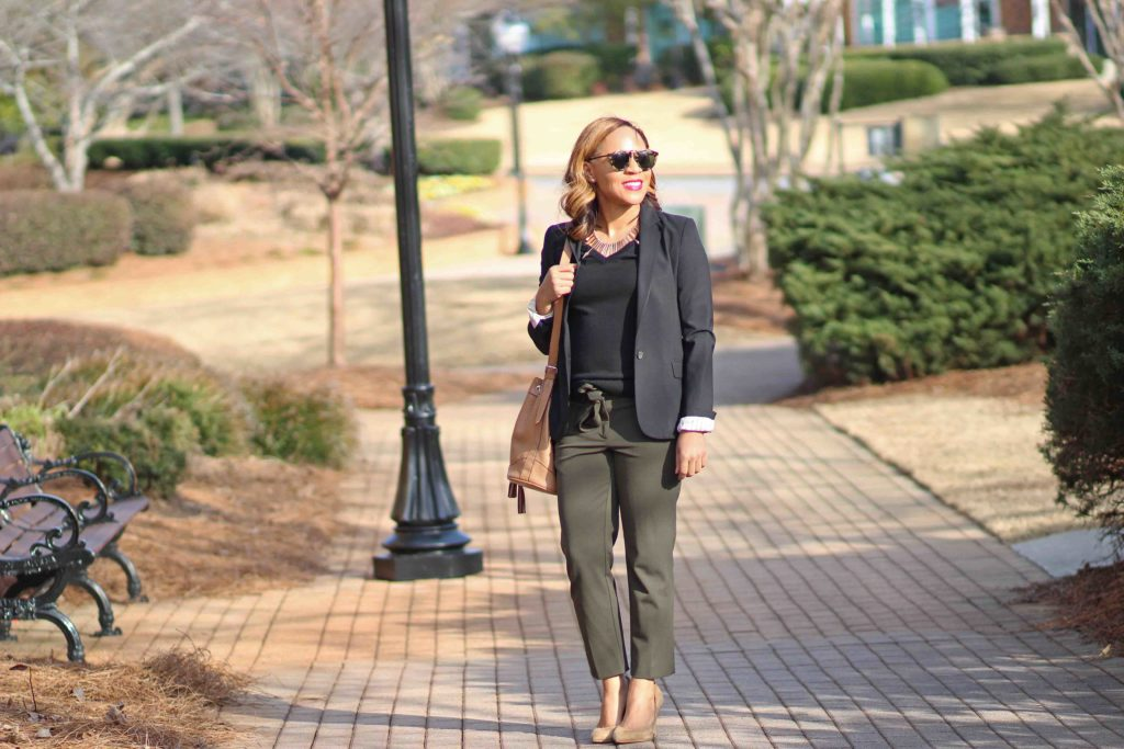 Loft Julie Fit Olive Pants, Banana Republic Merino Wool Sweater, Old Navy Camel Bucket Bag, Olive Pants Outfit, Business Casual Outfit with black blazer