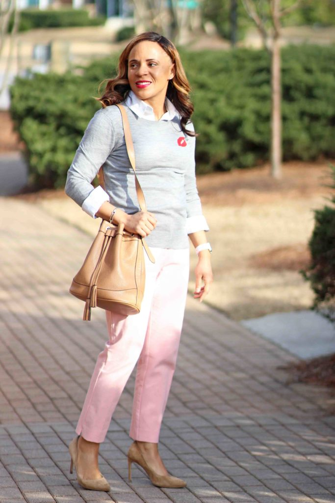 valentine's day work outfit, Banana republic gray merino wool sweater, old navy bucket bag, pink loft julie fit pants, zara nude suede pumps, how to wear pink pants to work